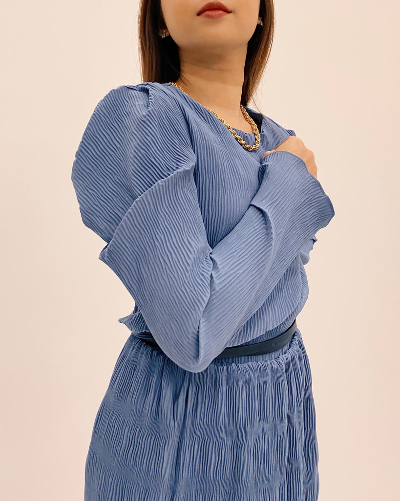 Ruched Detail Puff Sleeve Blouse (Blue)