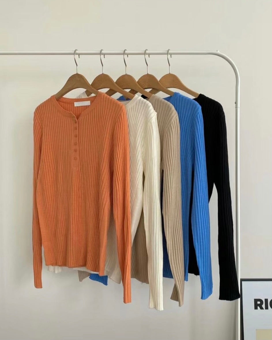Gail Button Up Ribbed Knit Tee (Orange)