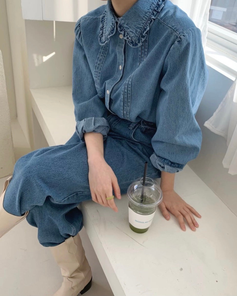 Ruffle Trim Collar Denim Shirt