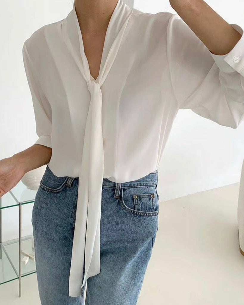 Jewel Tie Detail Neckline Blouse (Ivory)