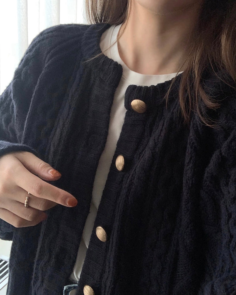 Muffin Cable Knit Cardigan (Navy)