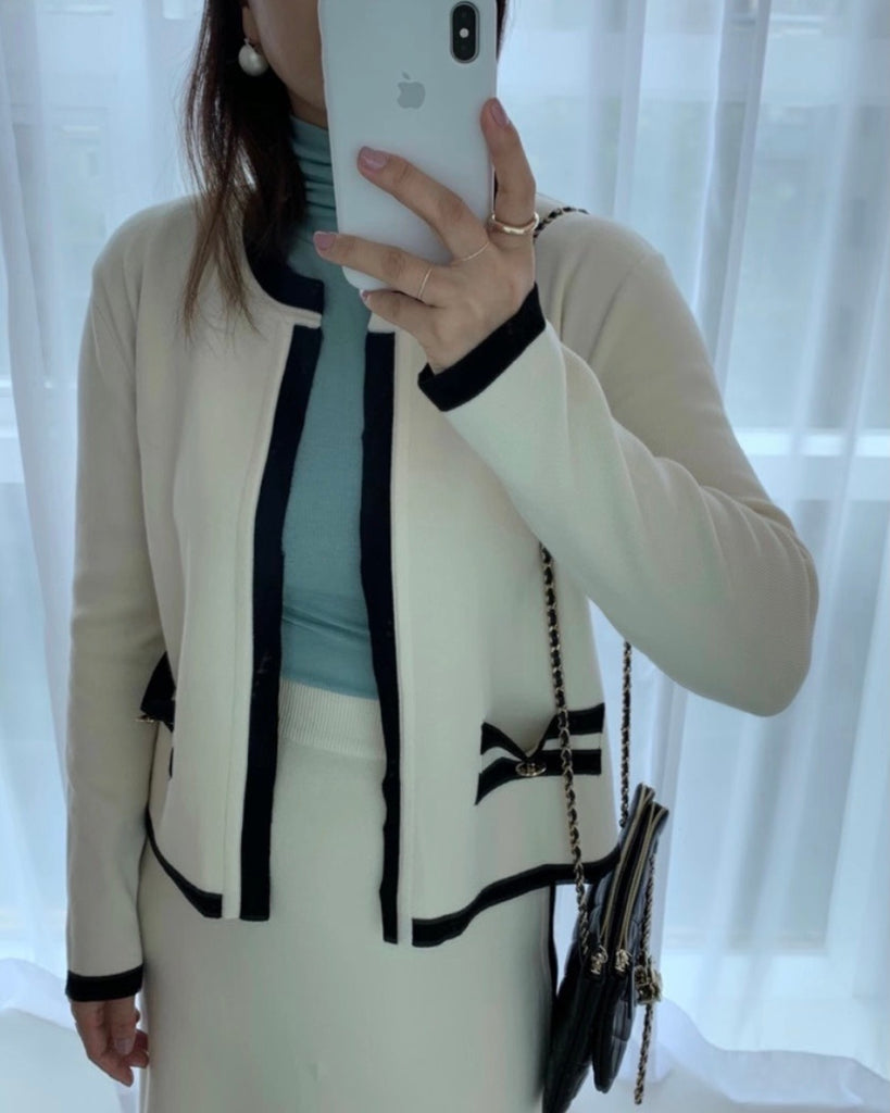 Line Contrast Wool Cardigan (Ivory)