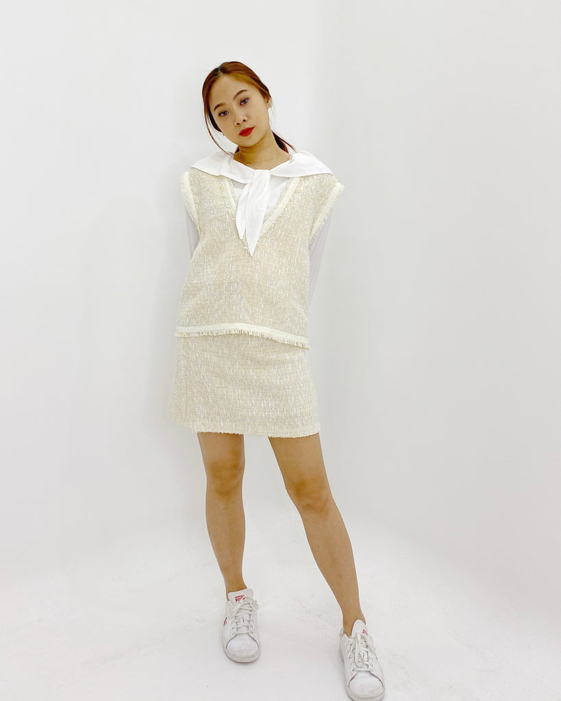 Shimmer Tweed Short Skirt (Cream)