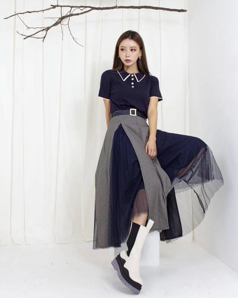 Checked Slit Inner Tulle Skirt