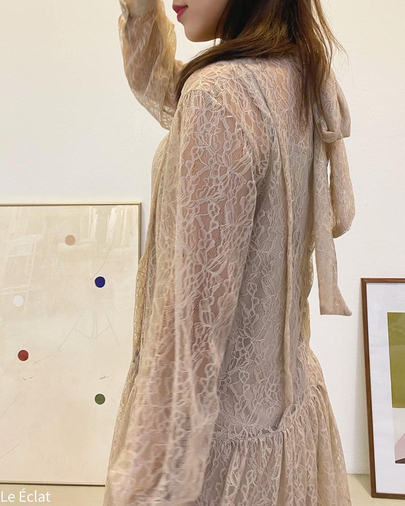 Full Lace Long Sleeve Long Ops (Beige)