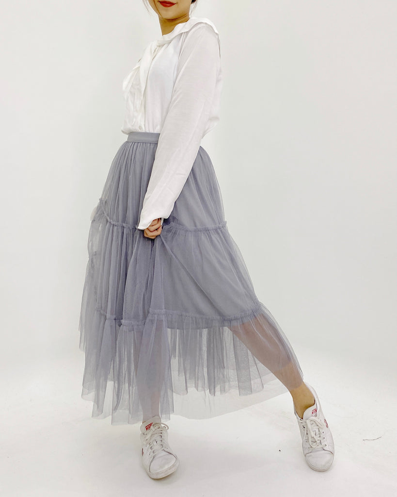 Tulle Tiered Flare Banded Skirt (Grey)