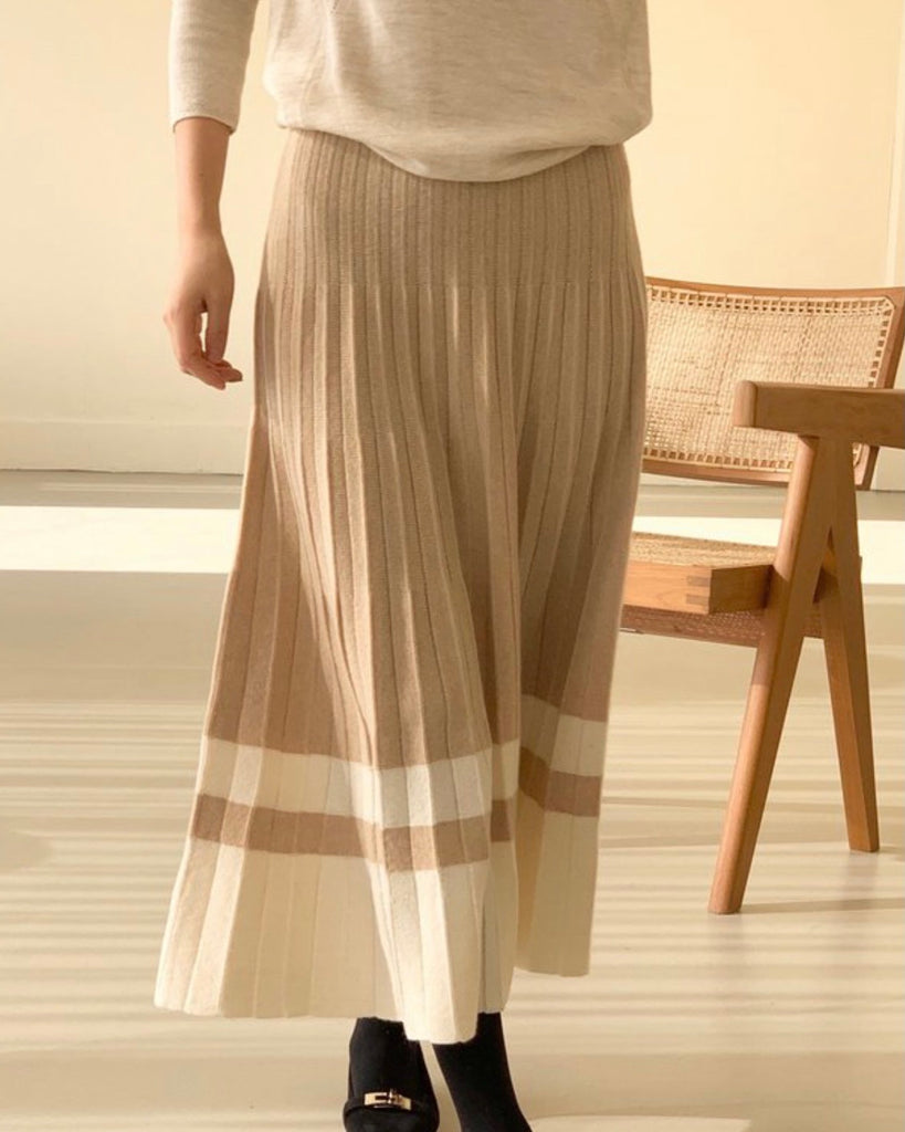 Kaia Bottom Colour Block Pleated Knit Skirt (Beige)