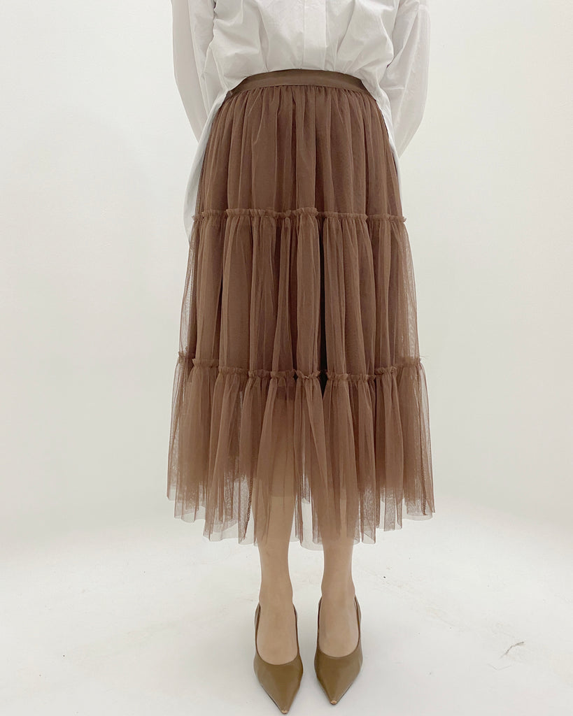 Tulle Tiered Flare Banded Skirt (Brown)