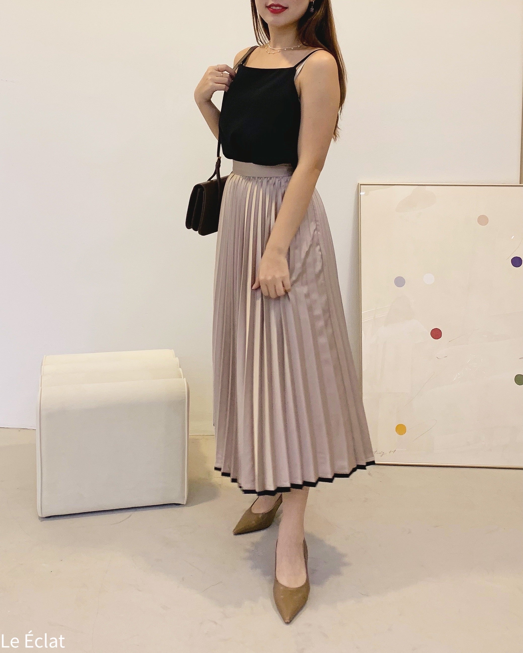 Satin Contrast Line Pleat Skirt (Champagne)