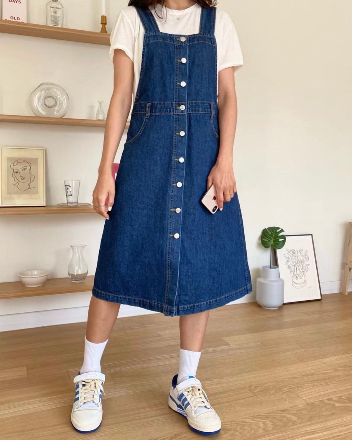 Square Neck Button Denim Pinafore