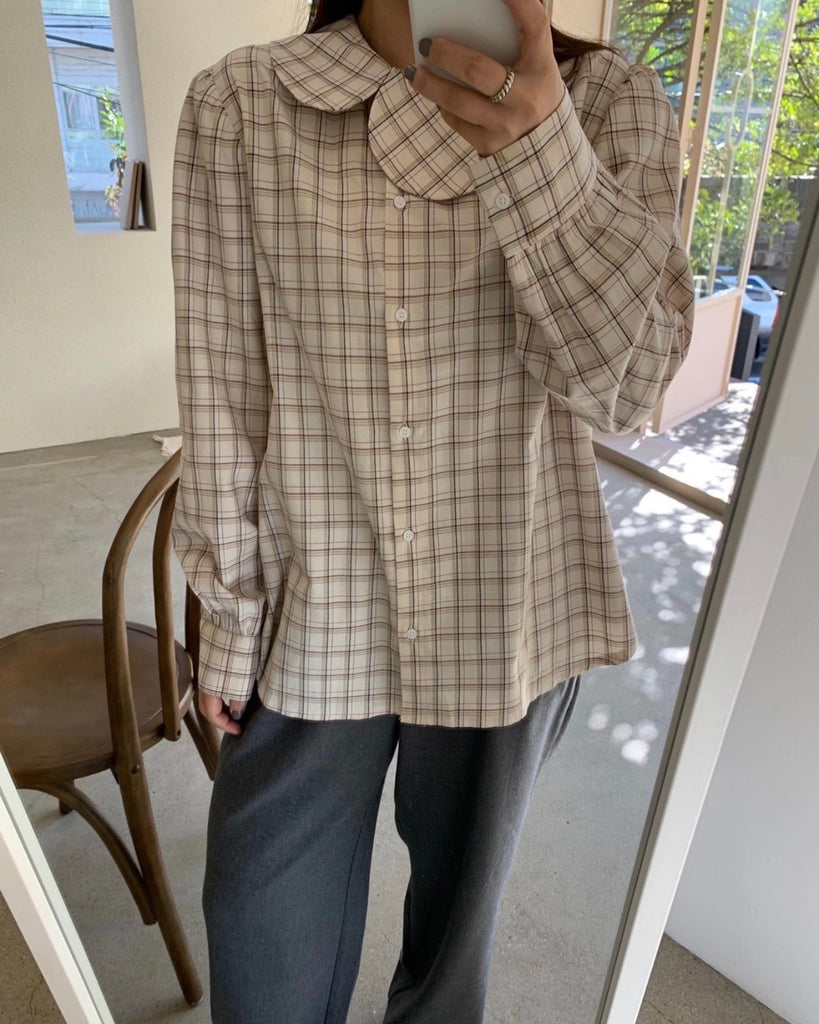 Wayne Rounded Collar Blouse (Checked)