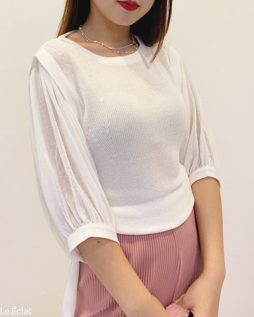 Sheer Puff Sleeves Back Tie Knit Top (Ivory)