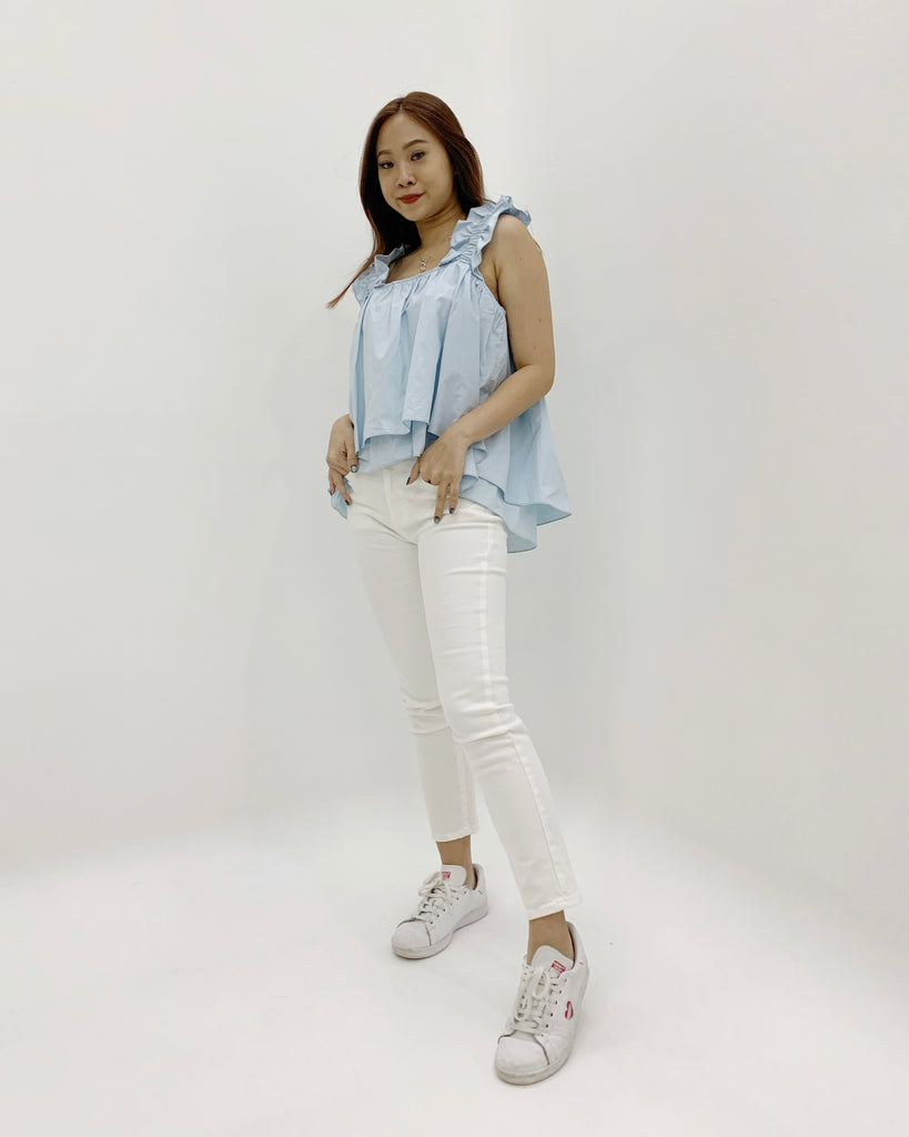 Ruched Strap Flare Crop Blouse (Blue)