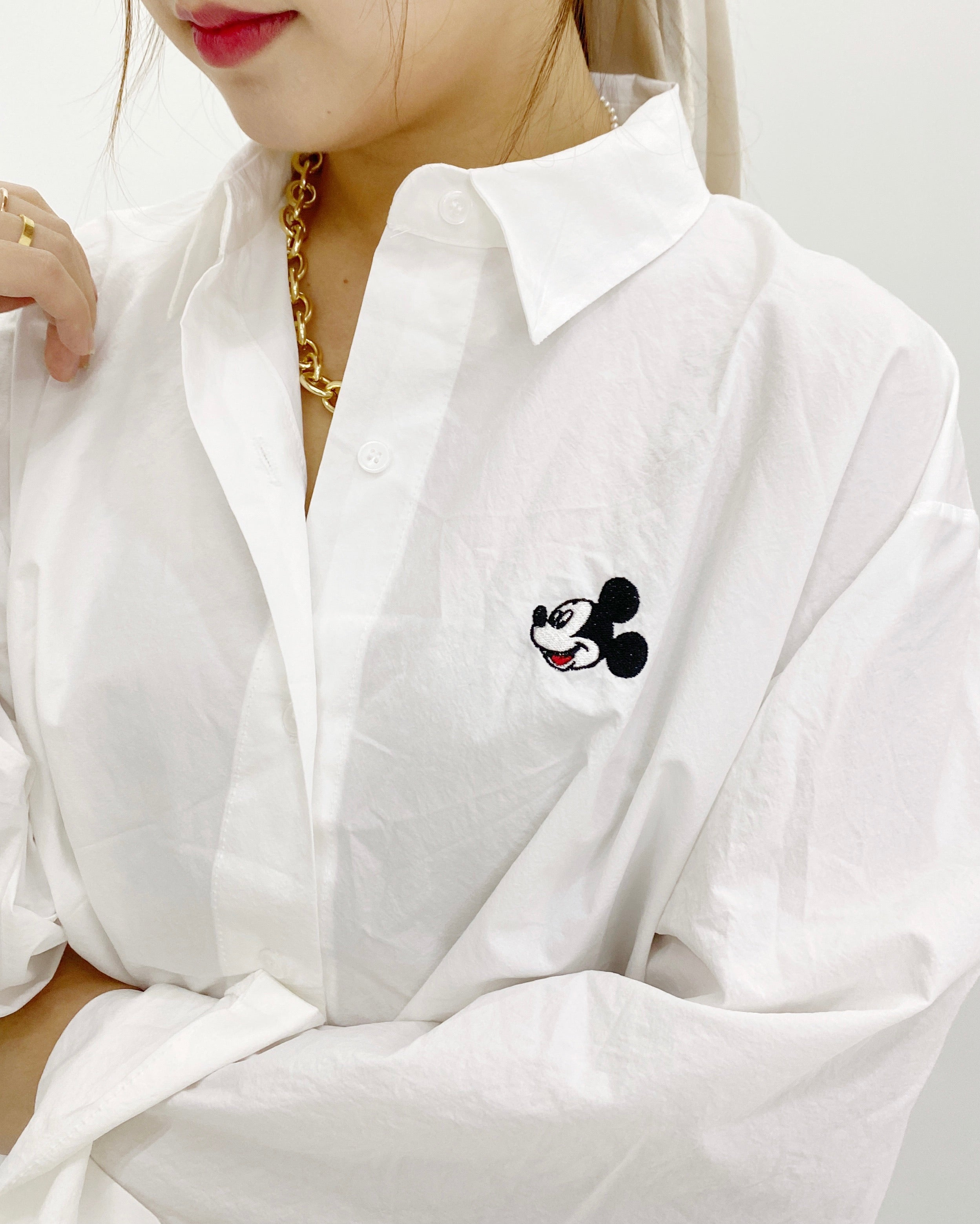 Mickey Mouse Button Down Shirt (White)