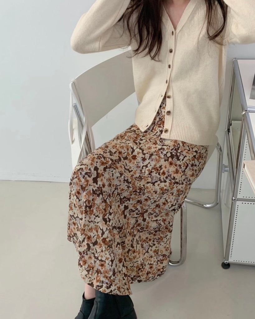 Ainsley Floral Long Skirt (Brown)