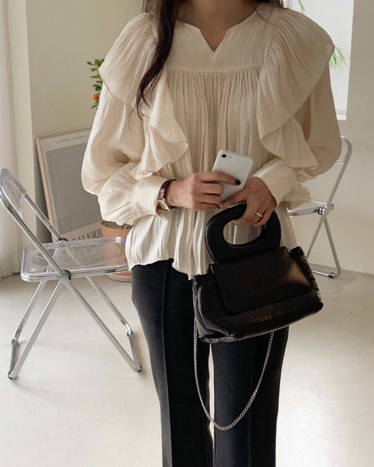 Side Frilled Round Neck Blouse (Ivory)