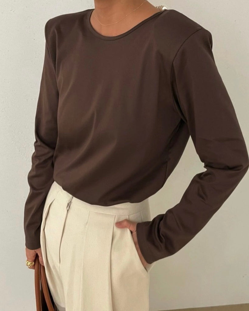 Anya V Back Detachable Pearl Top (Brown)