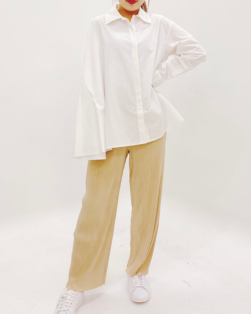 Pleated Comfy Flare Pants (Beige)