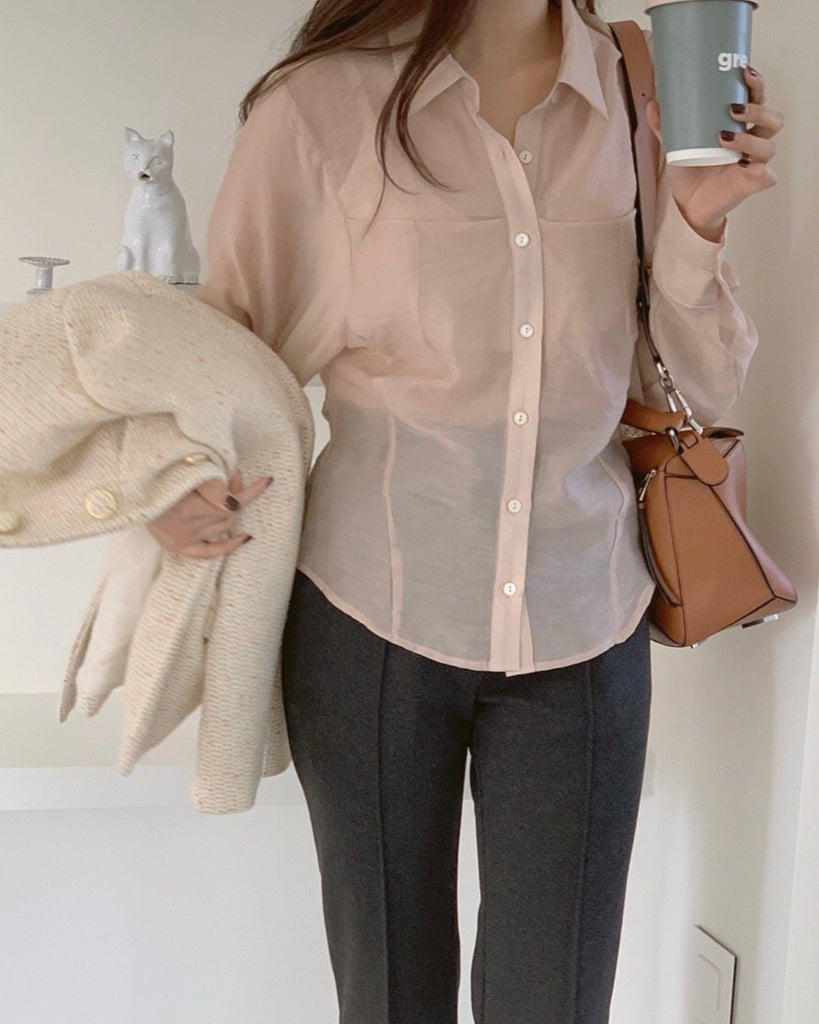 Sheer Pocket Button Blouse (Pink)