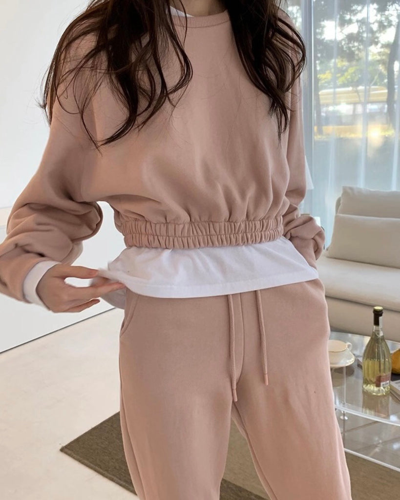 Ashley Cropped Pullover & Joggers (Pink)