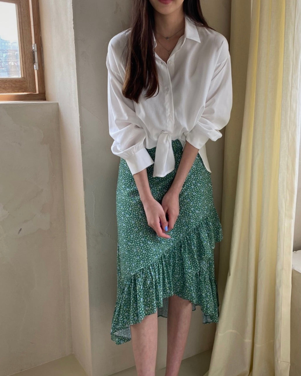 Side Frill Printed Wrap Skirt (Green)