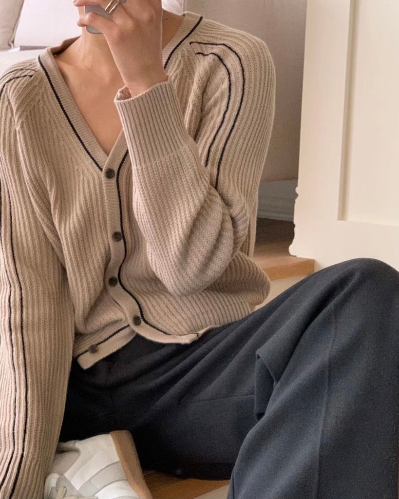 Stitched Outline Knit Button Cardigan (Beige)