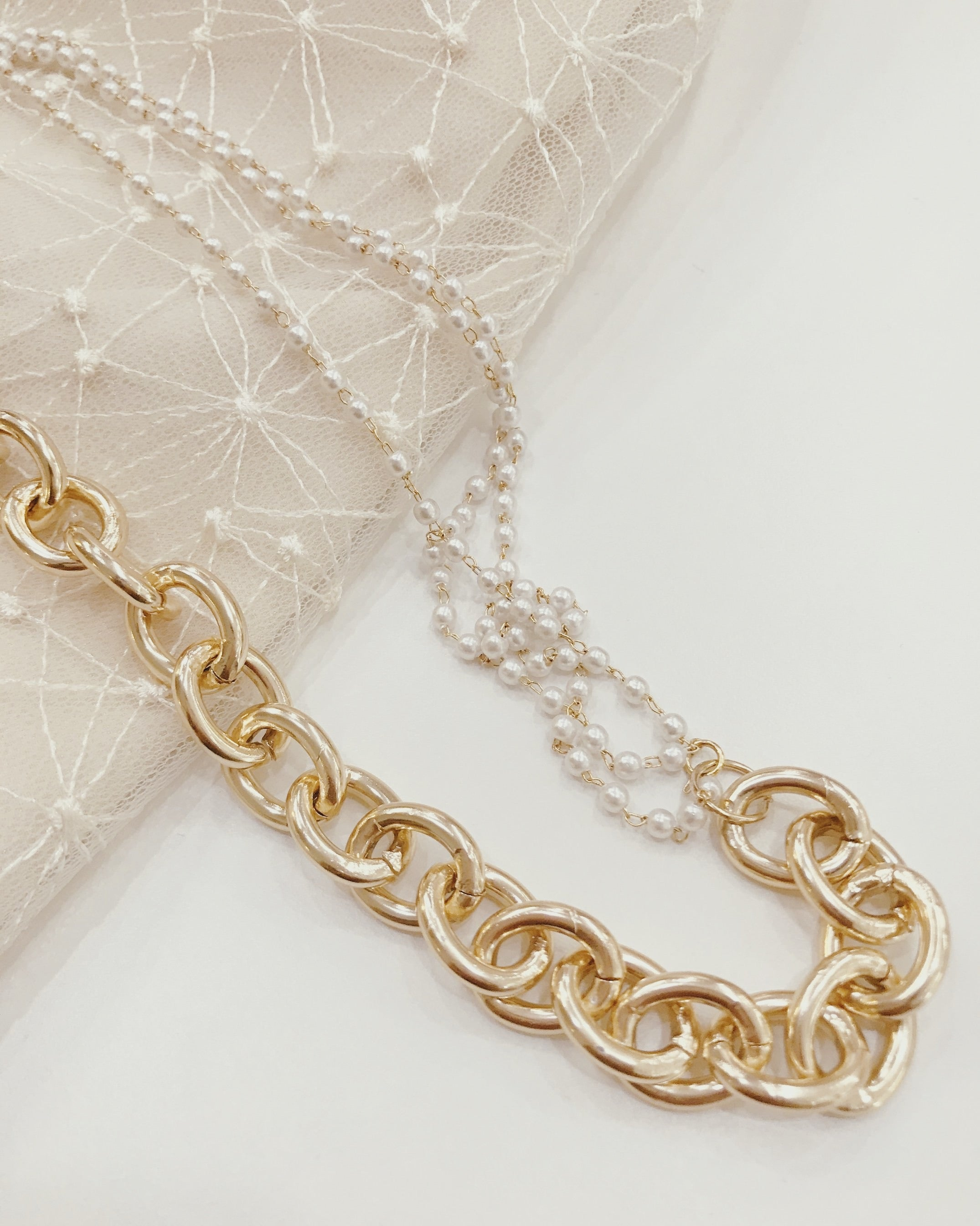 Gold Chain Pearl Layered Necklace