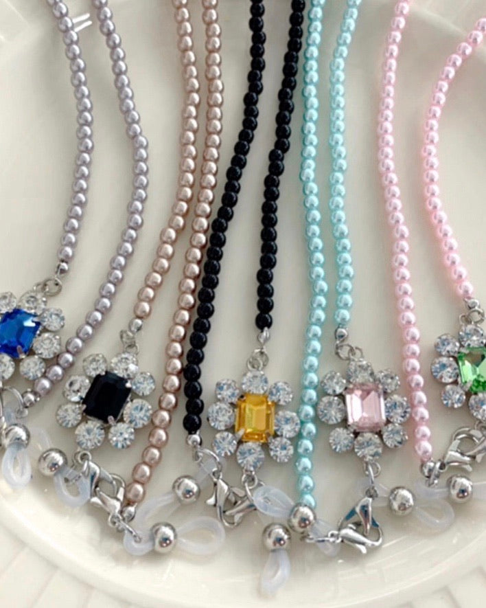 Jewel Stone Coloured Pearl Mask Chain