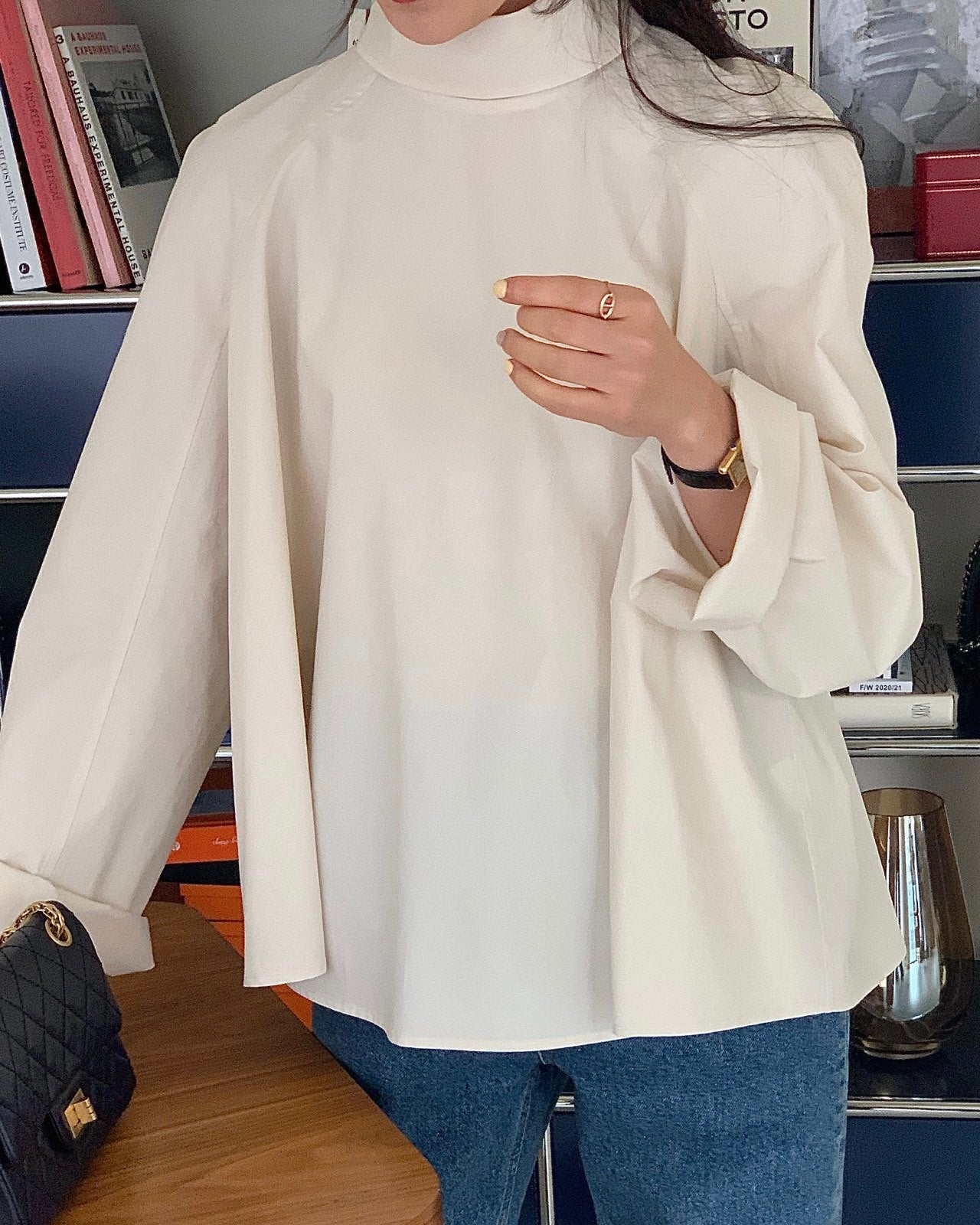 Back Button Down Flare Shirt (Ivory)