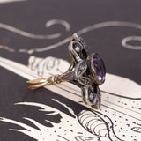 Antique ring in 18K gold and silver, with amethyst and rosettes, early 900s - Antichità Galliera