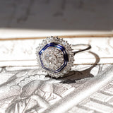 Antique 18K white gold ring with diamonds (central 0.56 ct) and blue enamels, 40s - Antichità Galliera