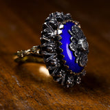 Vintage ring in 18K gold and silver, with blue enamels and diamonds, 60s - Antichità Galliera