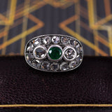 Antique ring in 18K gold and silver, with emerald and diamond rosettes, early 900s - Antichità Galliera
