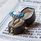 Antique 18K gold ring with pink coral and turquoise, early 900s - Antichità Galliera