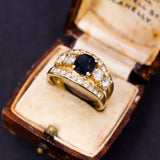 Vintage 18K gold ring with central sapphire and 1.5ct diamonds, 50s - Antichità Galliera