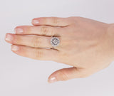 Vintage 18k white gold ring with central 0.30ct diamond and side diamonds, 50s
