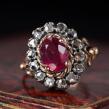 Antique 9K gold ruby and rosette ring, 40s