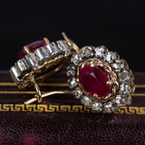 Antique 9K gold earrings with rubies and diamond rosettes, 40s