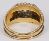 Two-tone 18k gold men's ring with diamond (0.50ct), 50s
