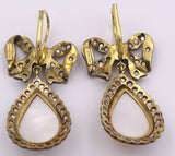 Gold and silver earrings with rosette cut diamonds and Mabe pearls - Antichità Galliera