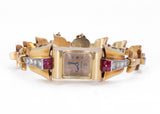 Lady Jaeger wristwatch in 18k gold with diamonds (1.80ct) and rubies, 30s