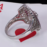 Vintage ring in 18K white gold with diamonds and rubies, 50s - Antichità Galliera