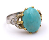 Gold ring with central turquoise and side diamonds. 50s / 60s - Antichità Galliera