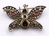 Gold and silver brooch with diamonds, rubies, emeralds and sapphire. Art Noveau - Antichità Galliera