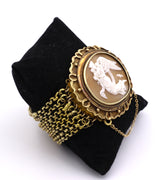 18k gold bracelet with central cameo, 6 wires. Early 900s - Antichità Galliera