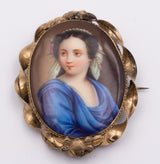 14k gold brooch with miniature on porcelain, late 800th century - Antichità Galliera