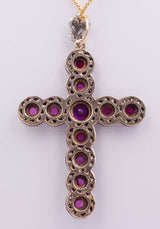 Gold and silver cross with rubies and diamond rosettes, early 900s - Antichità Galliera