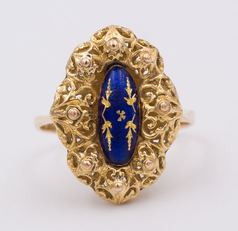Anello in oro 18k con smalti , 1940 circa - Antichità Galliera