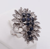 White gold ring with diamonds and sapphires, 60s - Antichità Galliera