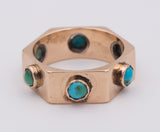 Vintage gold ring with turquoise, 40s